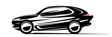 SUV car abstract design, side view silhouette of luxury fast off-road vehicle, black and white color, isolated on white background, automobile vinyl sticker, vector illustration. Illusztráció