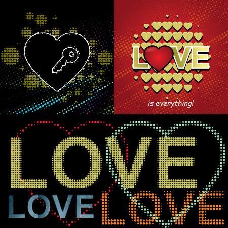 Valentine designs with text, romantic heart elements, LOVE word. Multicolored light illumination with realistic pixel screen effect on black background, vector illustration. Illusztráció