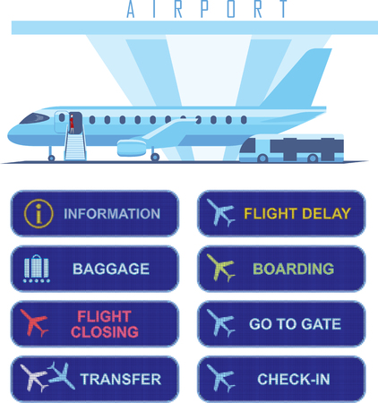 Airport navigational electronic signs with English text, baggage and information pictograms, realistic digital screen effect, isolated on white background, jet plane boarding and shuttle bus illustration. Illusztráció
