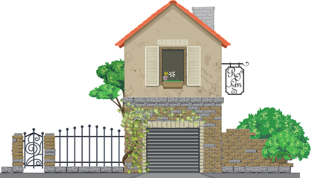 Facade of medieval two-storey house with garage and metal forged fence isolated on white background. Gesthouse rural business. Realistic style, vector illustration