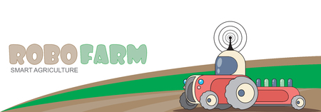 Autonomous robotic tractor on the field. Sowing works using new technologies and machines, digital solutions for modern agriculture, concept illustration
