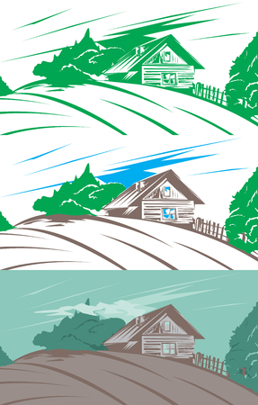 Old timber house near a plowed field, rural landscape, color variations of farmhouse with trees. Vector illustration Çizim