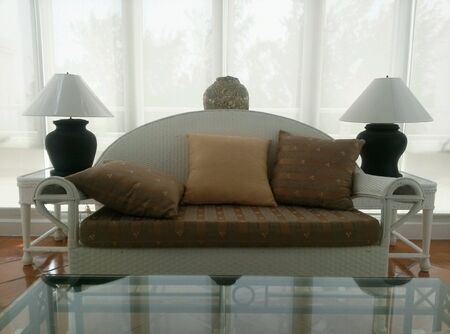 pillows: furniture in living room Stock Photo