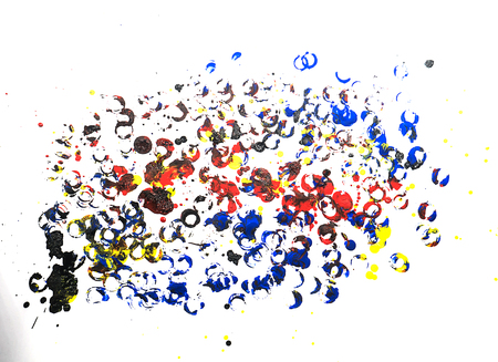 leaden splash: Set of colorful watercolor hand painted splashes isolated on white background