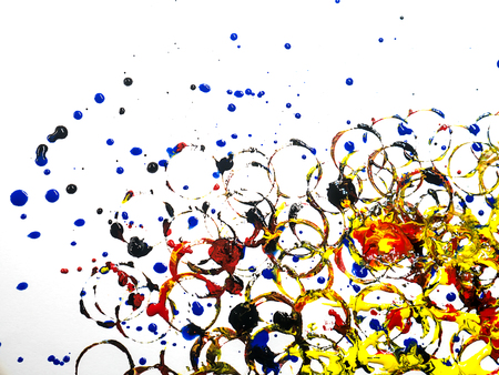 taint: Set of colorful watercolor hand painted splashes isolated on white background