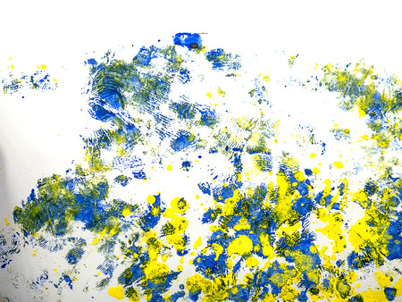 fleck: Set of colorful watercolor hand painted splashes isolated on white background