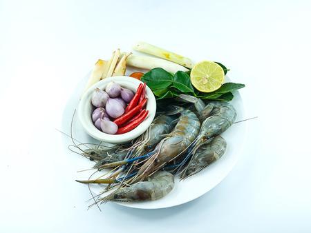 Combine shrimp soup spicy herbs Thai Food Tom Yum