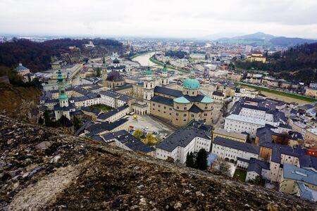 salzach: Panoramic view over the city of Salzburg Stock Photo