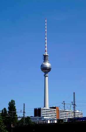 Berlin tv tower in front of blue sky Editorial