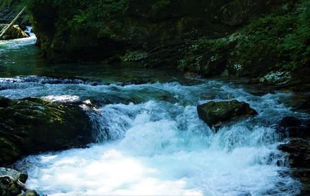 Vintgar Gorge rapids of Radovna river near Bled, Slovenia Foto de archivo