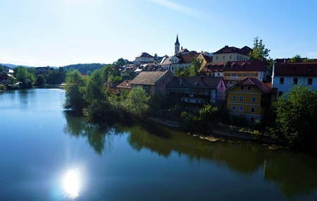 Krka river and the city of Novo Mesto, Slovenia