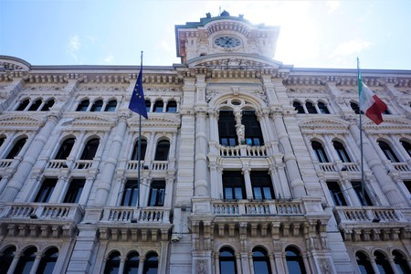 The town hall of Trieste in the sun