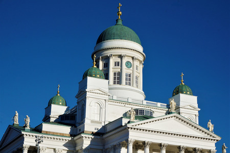 Helsinki cathedral roof in front of a blue sky Stock Photo