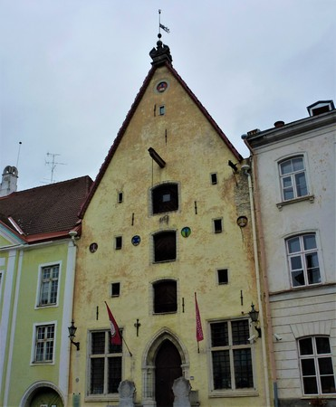 Front view of old Hanseatic house, home of the city theatre of Tallin, Estonia