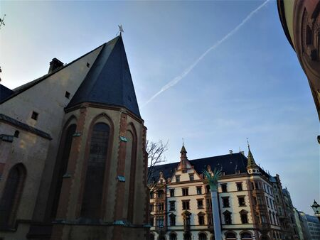 View overt the Nikolai churchyard in the city center of Leipzig, Germany,