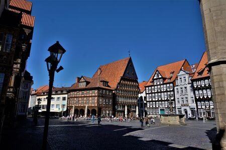 The beautiful market square in the city of Hildesheim, Germany