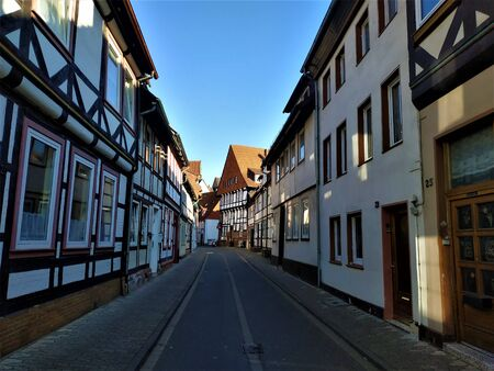 Street with half timbered houses in the old town of Einbeck, Germany
