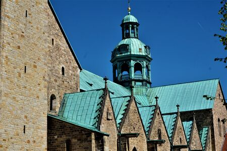 Part of the roof of St Marys Cathedral in Hildesheim, Germany 版權商用圖片