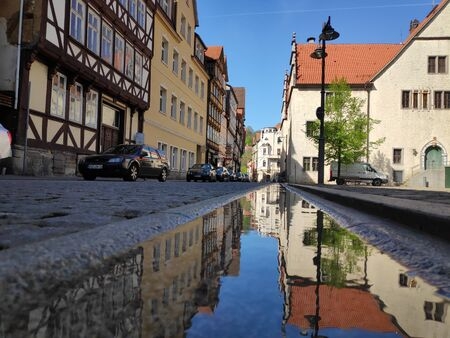 Little stream of water in the old town of Hannoversch Munden, Germany Stok Fotoğraf