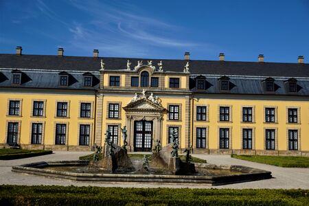 Gallery building and neptune fountain in Herrenhausen Gardens Hanover