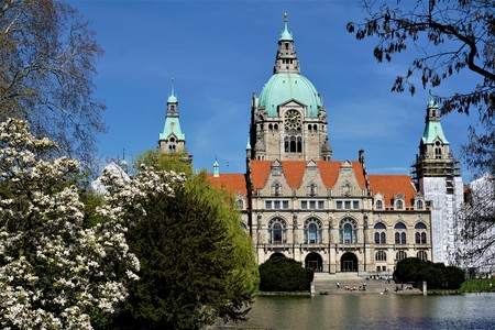 The beautiful town hall in Hanover, Germany with magnificant plants