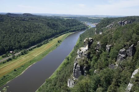Beautiful view from the Bastei area to Stadt Wehlen in Saxon Switzerland, Germany