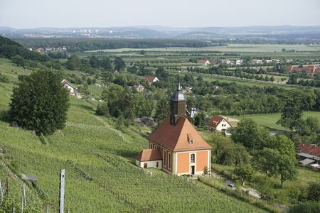 Close-up of the vineyard church in Dresden Pillnitz, Germany with beautiful landscape Banque d'images