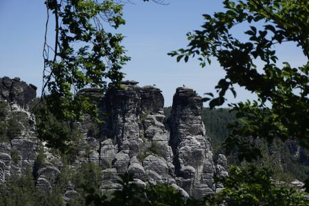 Back view on the Bastei rock formation in Saxon Switzerland, Germany