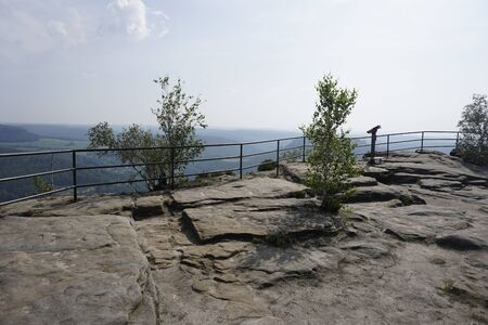 The top of Lilienstein mountain with beautiful rock ground, Saxon Switzerland, Germany 版權商用圖片