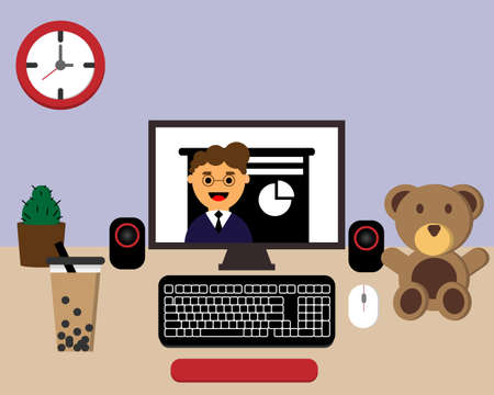 learning online comfortably at home vector