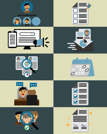 All process for Human Resources in recruitment vector