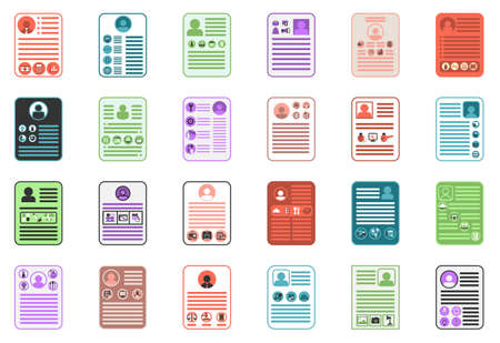Set of flat resume icons for each job