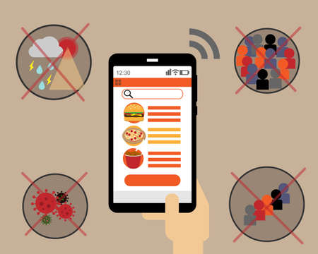 Order food online to stay safe at home vector