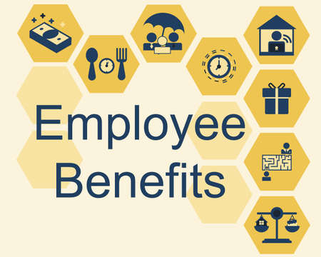 Employee benefits sign with icons Vetores