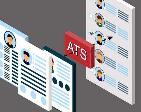 Resumes in ATS (applicant tracking system) process vector Ilustración de vector
