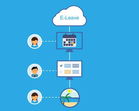 online leave request process vector Vector Illustration