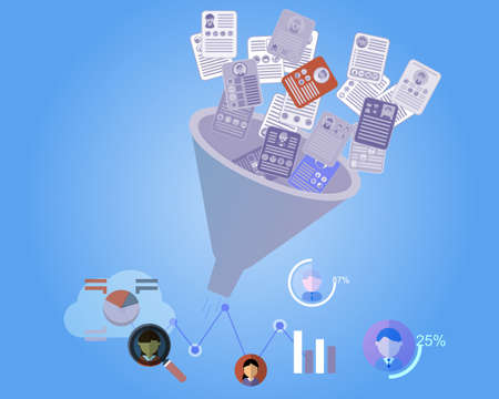 resumes to recruitment funnel to HR Analytics vector
