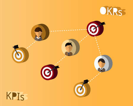 Using KPIs and OKRs in the same company vector 矢量图像