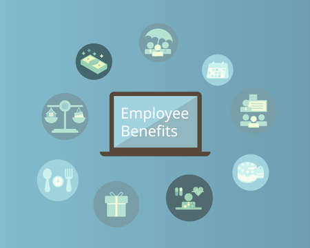 Employee benefits  with icons vector 矢量图像