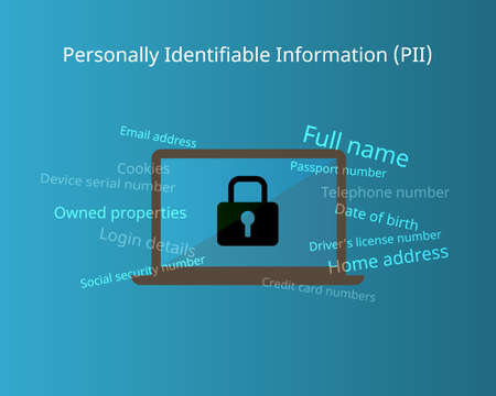 Personally identifiable information (PII) for sensitive data 向量圖像