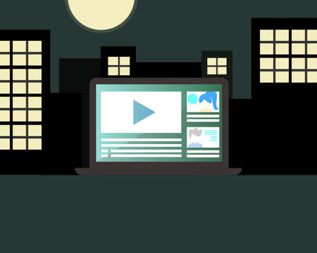 learning or training from laptop at night vector