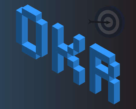 isometric okr (objective key results) banner