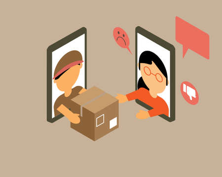 angry customer satisfaction for online delivery service from e-commerce vector