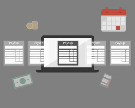 calculate payroll and create payslip at the end of the month