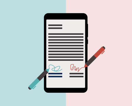 e-signature to sign document anywhere via mobile device vector Vector Illustration