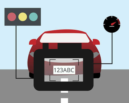 Optical Character Recognition (OCR) technology to check the car speed and recognize plate number with speed camera vector