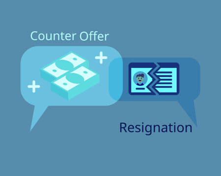 employee want to resign but get counter offer to stay vector