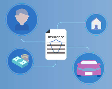 insurance coverage of house, car, life and saving vector