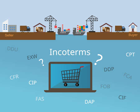 many incoterms to choose when buying goods online or from e-commerce platform vector