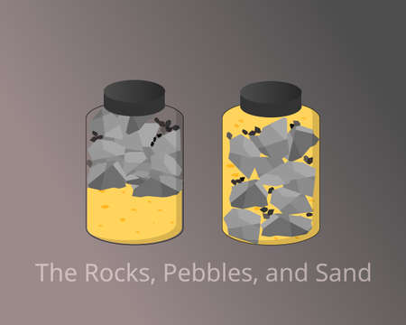 The Rocks, Pebbles, and Sand compare to prioritize important things in your life vector